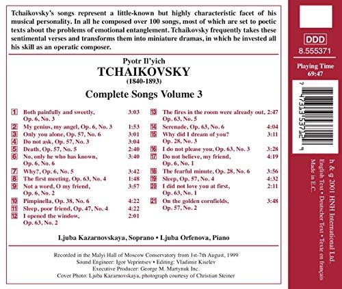 Tchaïkovski : Mélodies (Intégrale, Volume  3)