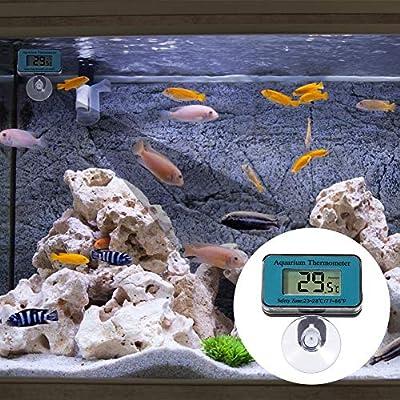 Delicacy Aquarium Thermometer Digitales, Wasserdicht Saugnapf Thermometer, Tauch Aquarium Thermometer mit Batterie, Temperaturanzeige Instrument für Aquarienwasser Terrarientemperatur, -50°C bis 70°C