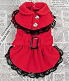 Dogloveit Dog Woolen Fabric Dress Pet Dog Cat Winter Clothes (Red, M)