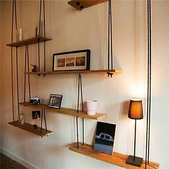Mensola in legno massello con mensole in corda di canapa per ...