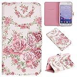 CaseHome for Samsung Galaxy Core Prime G360 Portafoglio Custodia Magnetica Chiusura del Gomma Paraurti PU Cuoio Protettivo Portafoglio Copertina Pelle Conchiglia-Pink Rose Fiori