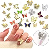 50 PCs Butterfly Nail Art Rhinestones Gems, EBANKU Big 3D Nail Jewelry Charms Crystals Studs Metal Gold Silver Colorful…