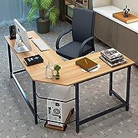 Escritorio de la computadora ,Tribesigns Mesa de Ordenador L-Shaped Moderna Escritorio con para hogar o oficina- Teca Color -148cm x 125cm x 74cm