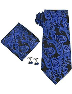 Hombres Coxeer Paisley Prom corbata pañuelo Establece: bolsillo corbatas + Cuadrado + Gemelos