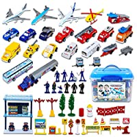 deAO Deluxe 57-Piece Kids Commercial Airport Play Set in Storage Bucket with Toy Airplanes, Play Vehicles, Police Figures, and Accessories