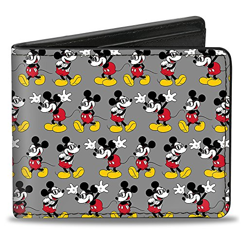 Buckle Down Men's Nerdy Mickey Mouse 3-Pose Stripe Gray Bi-Fold Wallet, Nerdy Mickey Mouse Pose Stripe Gray, Standard Size