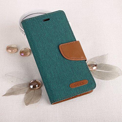 EGO® Bookstyle Handy Tasche mit praktischer Aufstellfuntkion für iPhone 7 Grau Flip Case Magnetverschluss Book Cover mit Kartenfach Wallet Stand Schutz Hülle Canvas Grün