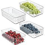 mDesign Förvaringslåda för mat – Små ventilerade förvaringslådor i plast – Perfekt för kylskåpsförvaring – 4-pack – Klar