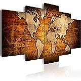 murando - Bilder 200x100 cm Vlies Leinwandbild 5 TLG Kunstdruck modern Wandbilder XXL Wanddekoration Design Wand Bild - Weltkarte Welt Landkarte Kontinente k-A-0062-b-n