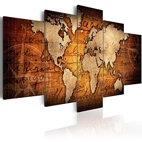 Cuadro 200x100 cm - 3 tres colores a elegir - XXL Formato - Impresion en calidad fotografica - TOP - lienzo tejido-no tejido - 5 Partes - Cuadro en lienzo tejido-no tejido – Mapa del Mundo Continente Mundo k-A-0062-b-n 200x100 cm B&D XXL