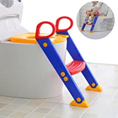 House of Quirk Kid's Potty Toilet Seat with Step Stool ladder 3 in 1 Trainer for Toddlers with Handles, (POTTY_LADDER_TODDLERS)