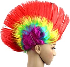 Voberry Unisex-Adult Vobery Halloween Masquerade Party Punk Mohawk Mohican Cockscomb Hair Wig Costume One Size Red
