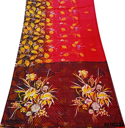 Silk-blend-vorhänge (Vintage Style Sari Blumen gedruckt Handwerk Stoff DIY Silk Blend weichen Textur Vorhang Drape Saree)