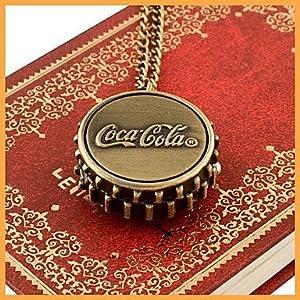 FENKOO mode-rundförmigen hoher Dichte organisches Glas Coca-Cola Flip Taschenuhr (Bronze) (1pc)