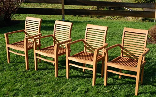 4Stk ECHT TEAK Design Gartensessel Gartenstuhl Sessel Holzsessel  Gartenmöbel Holz Sehr Robust Stapelbar Modell: 4erJAV