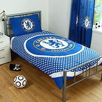 Chelsea Fc Bullseye Logo Single Duvet Set Quilt Cover Football Club Blue Bedding - low-cost UK bedding shop.