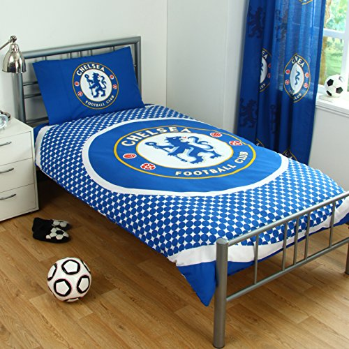 Chelsea Fc Bullseye Logo Single Duvet Set Quilt Cover Football Club Blue Bedding