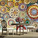 LONGYUCHEN Benutzerdefinierte 3D Seide Wandbild Tapete Abstrakte Muster Mosaik Fliesen Geeignet Für Schlafzimmer Wohnzimmer Sofa Tv Hintergrund Wand Dekoration Wandbild,180Cm(H)×280Cm(W)