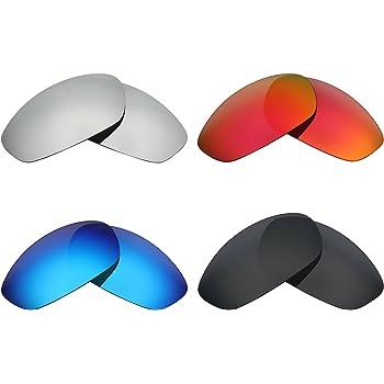 MRY 4 pares polarizadas lentes de repuesto para Oakley Whisker sunglasses-stealth negro/fuego rojo/hielo azul/plata titanio