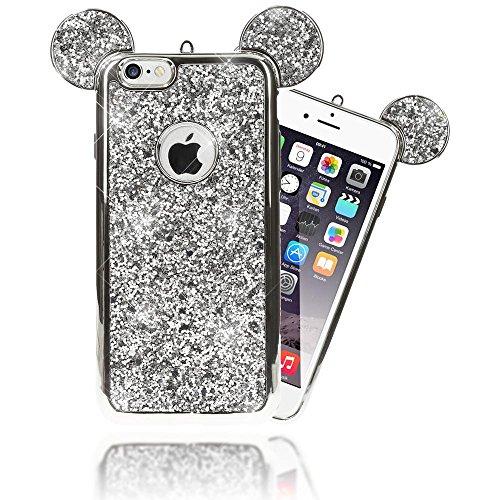 andyhülle von NALIA, Glitzer Slim Back-Cover Case mit Maus Ohren Glitter Silikonhülle Schutzhülle Dünnes Strass Bling Etui Handy-Tasche Bumper für Apple iPhone 6S 6, Farbe:Silber (Strass Maus Ohren)