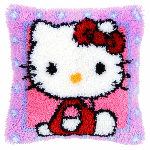 Vervaco - Cuscino tappeto Kit uncinetto, disegno Ciao Kitty, multicolore - Ciao Kitty Kit