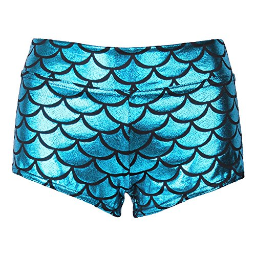 YiZYiF Damen Sexy Mermaid Fish Scale Shorts Damen Hotpants Stretch Weiche Glanz Shorty Badeshorts GoGo Club Kostüm