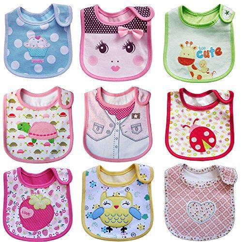HaimoBurg Paquete de 9 Baberos Impermeables de Bebés 0 a 3 años