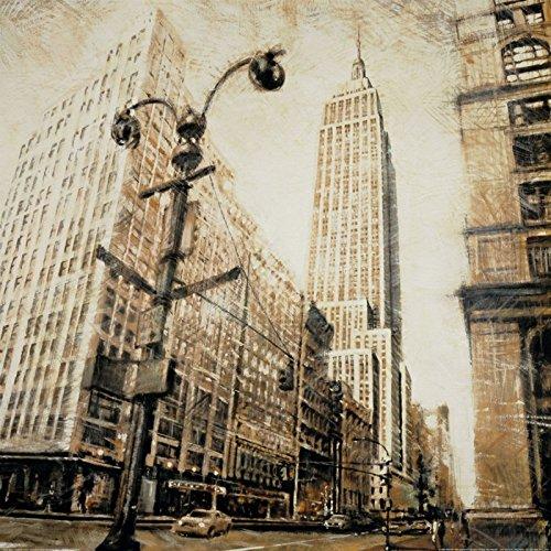 Artland Poster Kunstdruck aufgezogen auf Holz-Platte Wand-Bild Matthew Daniels Empire State Building von Madison Avenue Städte Amerika NewYork Malerei Sepia 69 x 69 x 1,2 cm A5PE (Madison Kunst)