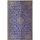 Murano - Midnight Blue & Gold Plastic Floor Mat Plastic Chatai (4' x 6') Medium