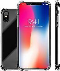 samLIKE Hülle für iPhone XS/iPhone X Handyhülle Transparent Hardcase 5.8 Zoll Vier Ecken Stoßfest Schutzhülle TPU Rückschale Ultra Dünn Schut Case, Anti-Fingerabdruck/Anti-Scratch (🍎 Transparent)