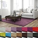 casa pura Shaggy Teppich Barcelona | weicher Hochflor Teppich für Wohnzimmer, Schlafzimmer, Kinderzimmer | GUT-Siegel + Blauer Engel Größen | 160x160 cm | Flieder
