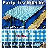 10x Party-Tischdecke Blau Weiß Bierzelt Garnitur Garten Bierbank Biertisch Fest