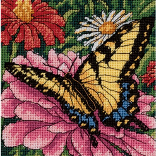 5 X5 Stitched In Floss Butterfly On Zinnia Mini Needlepoint Kit 7232 -