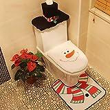 Luwu-Store 3 unids/Set Santa Claus Alfombra Asiento de Inodoro baño Set Feliz Navidad Decoraciones para el hogar decoración de año