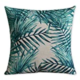 American Pillow Flamingoes and Palm Leaf Modern Art Cotton Linen Pillowcase Comfortable Cushions Decorative Pillows Home Decor Sofa Throw Pillow Cover 17.7*17.7 inches