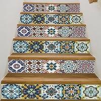Frolahouse 3D Stairway Aufkleber Mediterranen Stil Keramik Fliesen Treppen  Aufkleber Selbstklebende DIY Entfernbare Wandtattoos 18x100 Cm