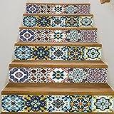 Frolahouse 3D Stairway Aufkleber Mediterranen Stil Keramik Fliesen Treppen Aufkleber selbstklebende DIY Entfernbare Wandtattoos 18x100 cm, 6 teile/satz
