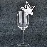 Jingxu 50st Tischkarten Geburtstag Glas Platzkarten Glasanhänger Weinglas Cup Deko Champagnerglas Deko Gastgeschenk Hochzeit Party Tischdeko Stern
