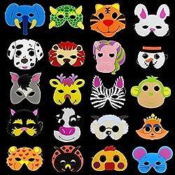 20 x Niños Eva Foam Wild Animal de Granja Máscaras Fiesta Juguetes de llenado de bolsillo, las actuaciones de la etapa Parte celebrar máscaras- diseños surtidos (Pack de 20)