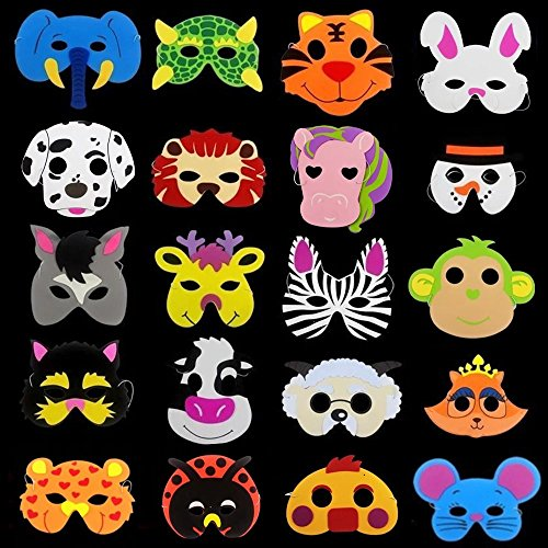 20 x Niños Eva Foam Wild Animal de Granja Máscaras Fiesta Juguetes d