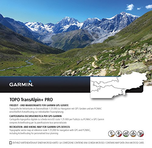 Garmin TOPO TransAlpin+ PRO Topografische Vektorkarte, schwarz, M Ost-microsd