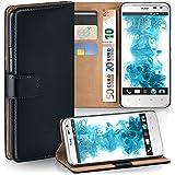 OneFlow Tasche für HTC Sensation XL Hülle Cover mit Kartenfächern | Flip Case Etui Handyhülle zum Aufklappen | Handytasche Schutzhülle Zubehör Handy Schutz Bumper in Schwarz