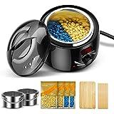 AEVO Calentador de Cera, Kit de Depilación con 2 Contenedores, 4 Bolsas de Cera y 20 Aplicadores, Temperatura Ajustable, Pant