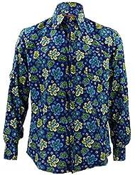 Loud ORIGINALS ajusté compatible avec chemise manches longues - Bleu Floral en bleu marine