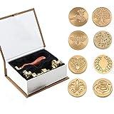 Ensemble de cire Stamp Kit, 8 têtes en laiton de tampon de sceau de cire et 1 poignée en bois, kit de cire à cacheter adhésif