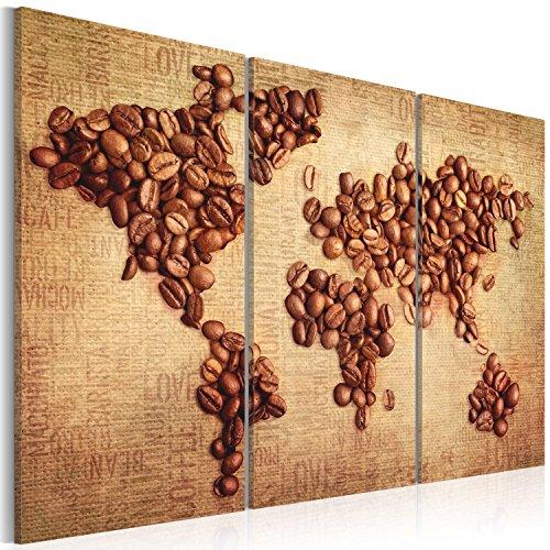 Bd xxl murando - quadro 120x80 cm - 3 parti - quadro su tela fliselina - stampa in qualita fotografica - mappa del mondo caffe 020107-4