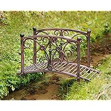 Pont de décoration, métal façon rouillé, livré non monté, inclus matériel de montage, facile à monter