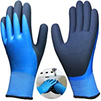 2 Pairs Superior Grip Waterproof Garden Work Gloves, Double Latex Coated Nylon Comfortable Fit for Gardening Fishing…