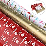 Wrapping Paper Christmas Wrapping Paper Roll Wrapping Paper Red Gold Colorful Gift Wrapping 3 Rolls