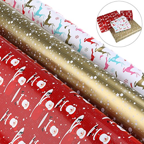BESTOYARD Weihnachten Geschenkpapierrollen Set Geschenkpapier Rollen für Familie Festivals Urlaub Partei Liefert 157,5 * 27,6 Zoll Pro Rolle (rot, weiß und Golden - 3 Rollen)